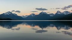 Lake McDonald at dusk (Tunabomber) Tags: glacier glaciernationalpark montana mountain usa nikon landscape lakemcdonald lake d810 panorama sunset dusk clouds water