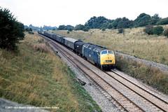 c.1971 - Wootton Bassett, Wiltshire. (53A Models) Tags: britishrail class42 warship dieselhydraulic parcels bath somerset train railway locomotive railroad d827 827 kelly