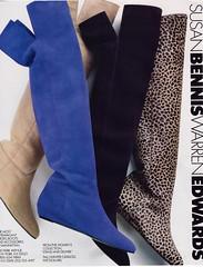 Susan Bennis Warren Edwards 1987 (barbiescanner) Tags: vintage retro fashion vintagefashion vintageads 80s 1980s 80sfashion 1980sfashion shoes vintageshoes susanbennis warrenedwards boots suede