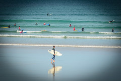 reflect (stevefge) Tags: bretagne brittany france pointededunant coast beach sea ocean waves surf people candid surfboard reflectyourworld reflections