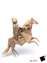 berkutshi (-sebl-) Tags: origami sebl paper banana square birdbase horse eagle rider berkutshi