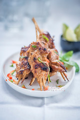 Chicken Satay (color and spices) Tags: chicken satay thai food foodphotography foodstyling snack starter peanut chili basil