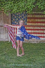 Independance Twirl (livininfrostytown) Tags: independenceday 4thofjuly daughter child girl 9yearsold adopted flag painted scarf sun summer july charmedimpressions 2017