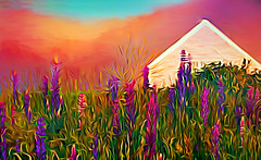 White Farmhouse with Lupines (D'ArcyG) Tags: farmhouse maine lupines newengland whiite purple flowers spring summer impressionist digitalart surreal