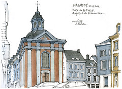 Malmedy (gerard michel) Tags: belgium liège malmedy place chapelle architecture sketch croquis