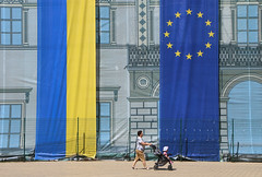 Shades of blue and yellow (Una_Clara) Tags: ukraine україна odesa odessa flags europe eu visa woman baby