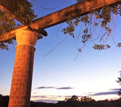 holywell sky (gprichards) Tags: sky verand evening trees night pillar pergola veranda