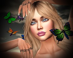 Evening Butterflies (lauragenia.viper) Tags: arte bento chloe designercircle glamaffair lajolierose lelutka lumipro nantra powderpack secondlife secondlifefashion slipperoriginals sntch truth closeup portrait butterfly butterflies avatar virtual blond blonde eyes ring rings outdoor lovely pretty beautiful beauty gloss handpose