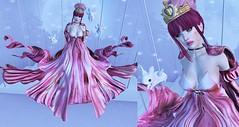Post #1840 (şąşɧ =^^=) Tags: moon princess star pink gold white ombre dress gacha glitter applier hud makeup bunny choker orange black mesh bento second life fashion blog sashakitteh rainbow colorful