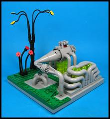 Pipes Aplenty (Karf Oohlu) Tags: lego moc vignette pipes plants blackplants