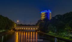View from a bridge (mr.wohl) Tags: gasometer oberhausen wahrzeichen pott ruhrgebiet nacht nachtaufnahme lichter