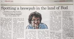 """Spotting a brewpub in the land of Bud"" (1991) (cizauskas) Tags: michaeljackson craftbeerhistory beerpress camra"
