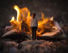 alchemy (momozart) Tags: surreal surrealist chicago detroit newyork dreamy fire fiery lady fashion book albumcover bookcover momozart burn burning light dark woman girl burnt red thealchemist alchemy fineart artsy flame reading literature surrealism