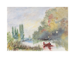 La promenade en barque (Yvan LEMEUR) Tags: aquarelle watercolour acuarela peinture rivière river barque promenadeenbarque paysage landscape