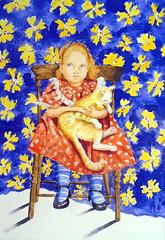 Little girl with cat, by Maria Helena S. - DSC01475 (Dona Minúcia) Tags: art painting watercolor study paper portrait littlegirl cat animal chair seated cute arte pintura aquarela retrato menina menininha cadeira gato sentada gracinha fofo