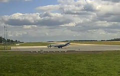 London Executive Embraer Legacy 650 G-GLEG Duke duchess of Cambridge royal tour Poland Gdansk Airport webcam capture (AirportWebcams.net) Tags: london executive embraer legacy 650 ggleg duke duchess cambridge royal tour poland gdansk airport webcam capture gdn epgd