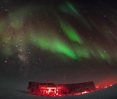 South Pole Station Panorama (redfurwolf) Tags: southpole antarctica southpolestation milkyway auroraaustralis aurora stars night sky nightsky nightphotography snow ice outdoor nature redfurwolf sonyalpha a7r sony