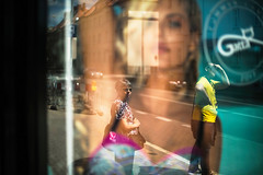 the lookout (ewitsoe) Tags: reflection summer man woman waiitng busstop street canon tone yello stret city urban peopel sidewalk waiting pedestrian poznan ewitsoe erikwitsoe poland polska