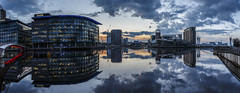 MediaCity Sunrise (andyrousephotography) Tags: salfordquays lowry theatre mediacityuk bbc bridge docks basin northbay newrestaurant alchemist bar cocktails sunrise firstlight clouds blue stillwater reflections panorama stitched photoshopcc andyrouse canon eos 5d mkiii ef1740mmf4l