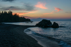 Morning has broken (FJMaiers) Tags: lutsen sunrise lake superior wave shore rocks pines trees backlight pebbles pink greatlakes resort