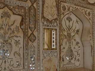 Détail de Diwan-I-Khas ou Palais des Miroirs, Amber Fort, Inde