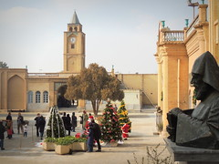 Christmas in Iranian Armenian church - Isfahan, Iran (Germán Vogel) Tags: asia westasia middleeast silkroad iran islamicrepublic muslimculture middleeastculture travel traveldestinations traveltourism tourism touristattraction landmark holidaydestination isfahan vankcathedral vank newjolfa jolfa armenian history historicalsite church cathedral orthodox monk courtyard christmas religioustolerance tolerance diversity clocktower
