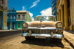 Cuban Chrome Belair 56 (ISP Bruno Laplante) Tags: chevrolet belair 1956 chevy old car havana cuba chrome classic blue sky street headlights front end taxi clouds explore 51