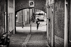 Nowalking Zone (Alfred Grupstra) Tags: blackandwhite urbanscene street people city architecture citylife buildingexterior builtstructure outdoors cityscape famousplace europe cultures travel pedestrian history editorial old bike van man woman