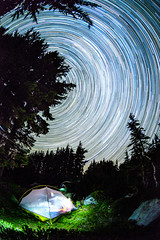 Star trails over campsite, Mt Hood Wilderness, Oregon (haroldshields1) Tags: starrynight mthood oregon outdoors summer astrophotography stars milkyway camping hiking backpacking wilderness nightsky
