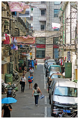 """""""Backstreets"""" - Shanghai, China (TravelsWithDan) Tags: urban city shanghai china backstreets poorneighborhood people laundry umbrella car everyday candid"""