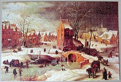 Winter Landscape (pefkosmad) Tags: jigsaw puzzle hobby pastime leisure arrowgames greatpaintings art fineart painting thewinterlandscape breugheltheyounger breughel 1000pieces used secondhand complete pieterbreugheltheyounger landscape winter snow dutch