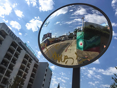 Mirror Outside the London Hotel - West Hollywood, CA (ChrisGoldNY) Tags: chrisgoldny chrisgoldphoto chrisgoldberg iphone bookcover bookcovers albumcover albumcovers licensing forsale california losangeles laist westcoast socal cali usa america londonhotel hotels hotelchatter mirrors street urban westhollywood sunsetstrip weho reflections circle round sanvicente bluesky clouds graffiti city