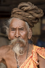 Holy man (alfienero) Tags: sadhu hinduism religion people portrait face nepal asia hair strange old wise