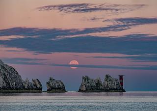 Moonset @ The Needles, Isle of Wight