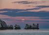 Moonset @ The Needles, Isle of Wight (Elm Studio) Tags: copyright copyrighted jeffmorgan elmstudio jeffelmstudiocom wwwelmstudiocom 4407542933700 isleofwight 2017 appicoftheweek morgan outdoors placeofinterest needles totland alumbay europe gb england uk mirrorless panasonic telephoto mft sunrise moonset sea moon lighthouse chalk sky seastacks waves fullmoon idyllic clouds solent gbr