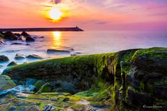 sky (aingerubidaurreta) Tags: sunset sea sun sky ocean orange colors coast cotebasque euskadi euskalherria europe beautiful basquecountry moss green water waves