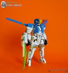 "E.M.I F-0.4-A ""CELOS SWORD"" (Loysnuva) Tags: lego mech moc system air aerial earth industries laser sword mecha robot original white blue loysnuva bionifigs"