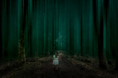 Stay on the path (Johnny_7) Tags: landscape night spooky dark forest girl creepy scary surreal horror trees