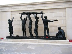 National Arboretum, England - The Armed Forces Memorial.- see description (rossendale2016) Tags: memorial fear mcother hugging child injured brave battle field from heads their above stretcher colleagues comrades his by carried being soldier wounded national arboretum england