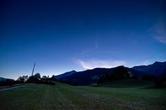 Filisur night: still some clouds in the sun (1/2) (jaeschol) Tags: europa filisur graubuenden grischuna kantongraubünden kontinent regionalbula schweiz suisse switzerland graubünden ch