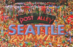 14 hkappespc (Rocky's Postcards) Tags: seattle chewing gum wall kenglaser postalley postcard hkappespc