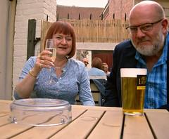 52 Weeks - Week 29 - It's a bomber! (World of Izon) Tags: beer pub beergarden 52weekproject selfportrait photobombed pint wine mirror