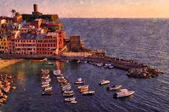 Vernazza (Jim Nix / Nomadic Pursuits) Tags: cinqueterre europe italy jimnix lightroom luminar macphun mediterranean nomadicpursuits sony sonya7ii vernazza beautiful boats coastline colorful harbor landmark travel view texture
