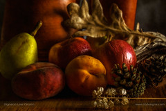 Fruity still life (ILO DESIGNS) Tags: stilllife food fruits fruity color pictorial warm kitchen health healthy diet apples peaches pears traditional europe spain d3300 closeup indoor naturallight bodegón frutas frutal pictórica cocina artística artistic