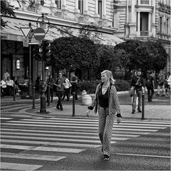 Off the path (John Riper (OFF for awhile)) Tags: johnriper street photography straatfotografie square vierkant bw black white zwartwit mono monochrome budapest hungary candid john riper xt1 fuji 18135 woman lady zebra crossing off from path track trail people terrace