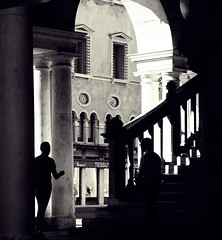 The deal (No_Mosquito) Tags: people men shadows stairs historic monochrome italy bw shilouette arch column contrast light dark deal canon powershot g7xmarkii vicenza summer evening basilica palladiana piazza signori