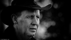 Trust in the woodlands. (Neil. Moralee) Tags: middevonshow2017neilmoralee neilmoralee man face portrait wood woods woodland trust warden hat close old mature eyes black white mono monochrome bw bandw blackandwhite neil moralee nikon d7200 candid mid devon show tiverton uk england britain cowboy farm farmer agriculture agricultural livestock