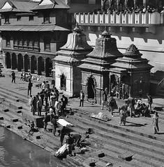 """NEPAL, Pashupatinath,Hindutempel und Verbrennungsstätte, zahlreiche Feuer brennen an den Surya Ghats, 16350/8670 (roba66) Tags: reisen travel explore voyages roba66 visit urlaub nepal asien asia südasien kathmandu pashupatinath """"pashu pati nath"""" """"pashupati """"herr alles lebendigen"""" tempelstätte hinduismus shivaiten tempel verehrungsstätte shiva tradition religion building architektur architecture arquitetura kulturdenkmal monument bau fassade façade platz places urban historie history historic historical geschichte verbrennung burning furnal ghats verbrennungsstätte beisetzung zeremony brauchtum kultur culture blackwhite bw sw branco negro blackandwhite blancoenero blancoynegro monochrome byn bretoebranco einfarbig schwarzweis"""
