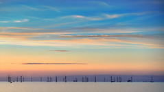 Mills on the Baltic (Mike_Mulcahy) Tags: denmark fuji fujifilm xt1 sunset mills wind farm cruise baltic sea blue teal orange pastel nordic scandanavia captureonepro10