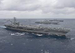 USS Nimitz (CVN 68) leads a formation of ships from the Indian navy, Japan Maritime Self-Defense Force (JMSDF) (Watash1) Tags: aircraftcarrier cvn68 usnavy ussnimitz sailors deployment malabar bayofbengal